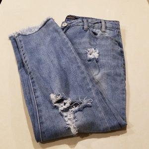 Refuge distressed frayed hem jeans
